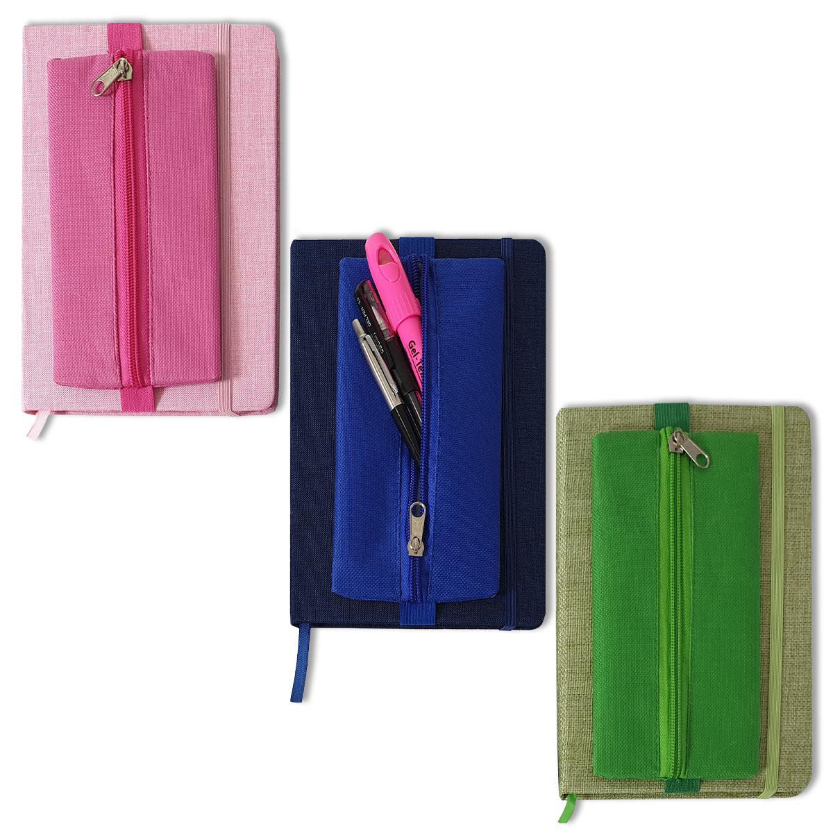 Notizbuch mit Stoffbezug und Stiftemäppchen Image