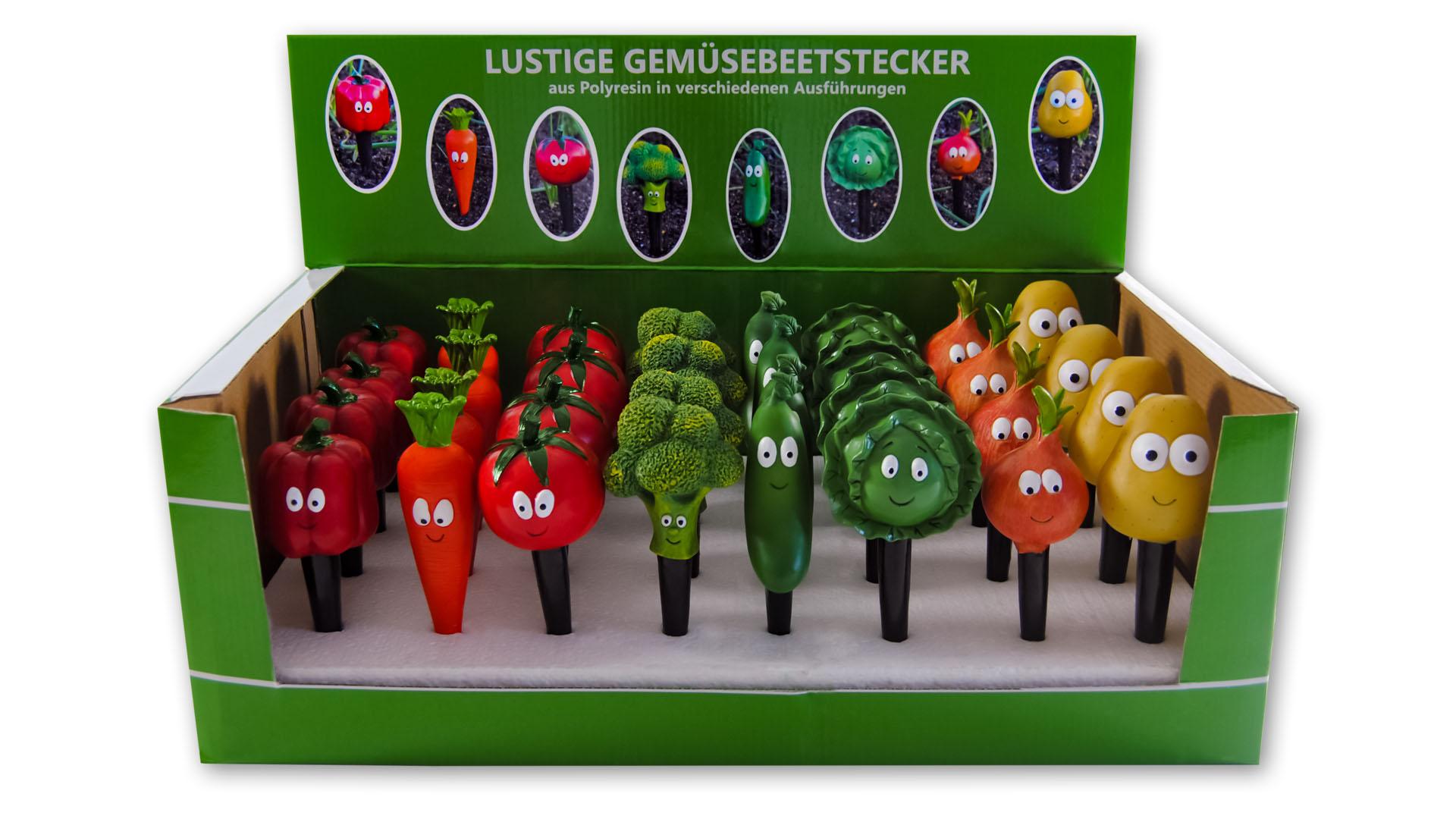 Lustige Gemüsebeetstecker im Verkaufsdisplay Image