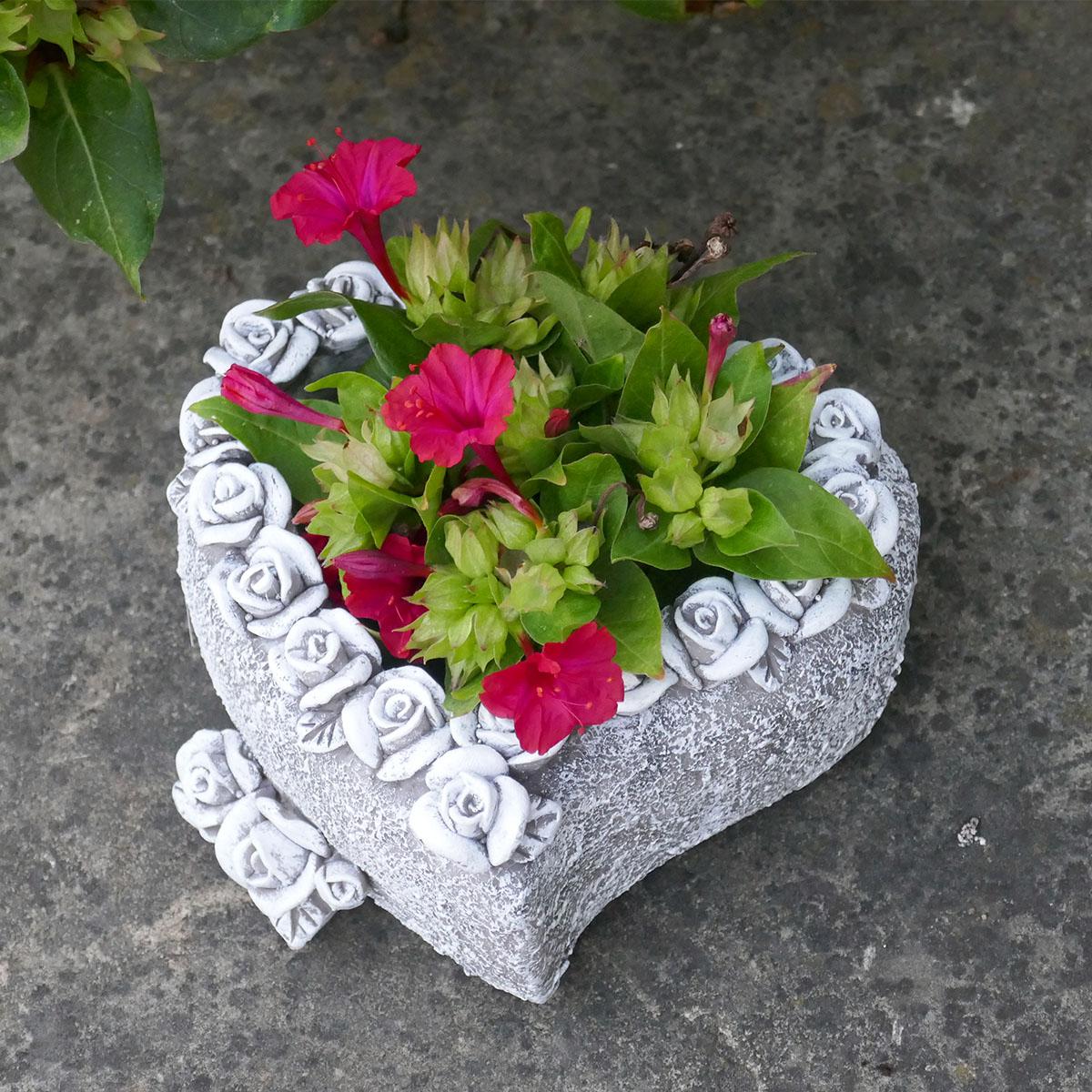 Pflanzschale Herz mit Rosen verziert Image