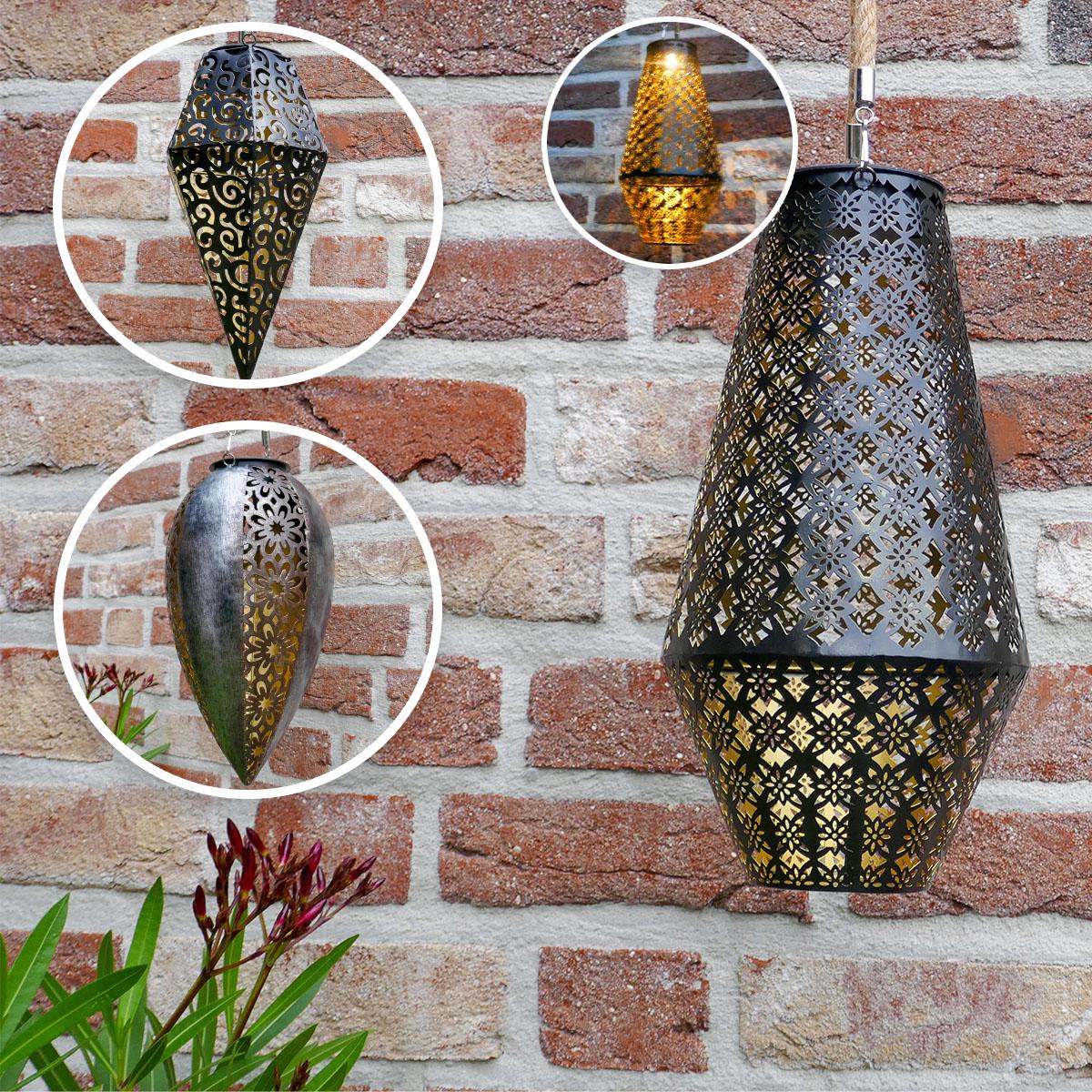 Metall Hängeleuchte im marrokanischen Design mit Solar-Beleuchtung Image