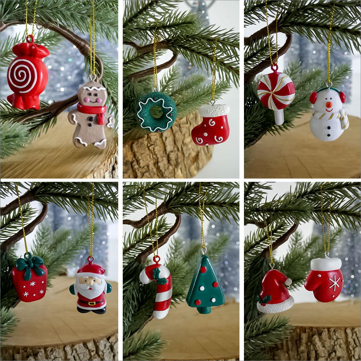 6er Set Christbaum-Weihnachtsaufhänger Image