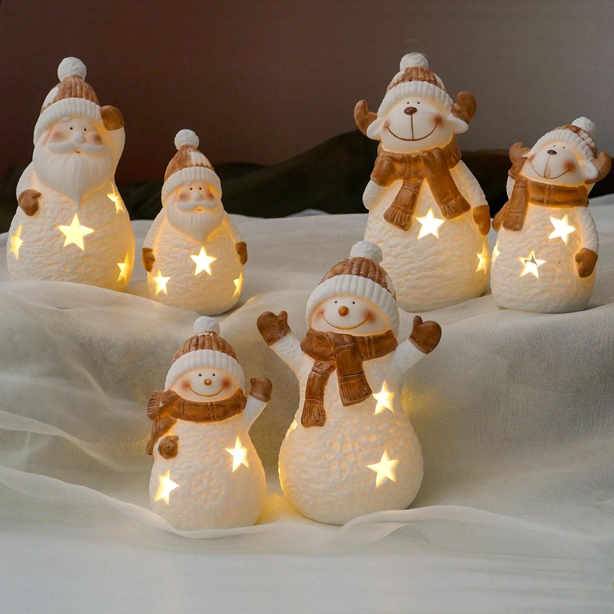 3er Set Weihnachtsfiguren mit LED Image