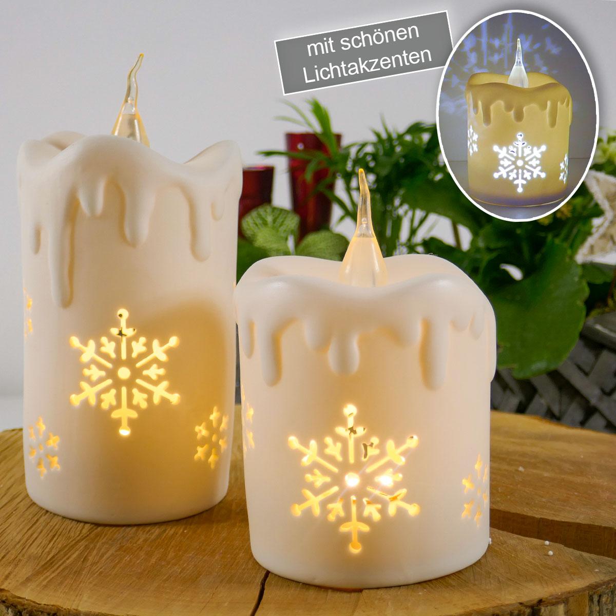 2er Set Kerzen mit LED-Beleuchtung und Ausstanzungen Image