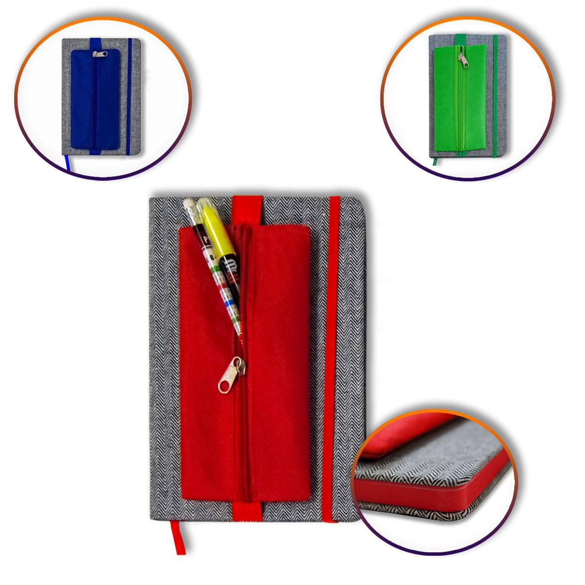 Notizbuch DIN A5 mit Stoffbezug und Stiftemäppchen Image