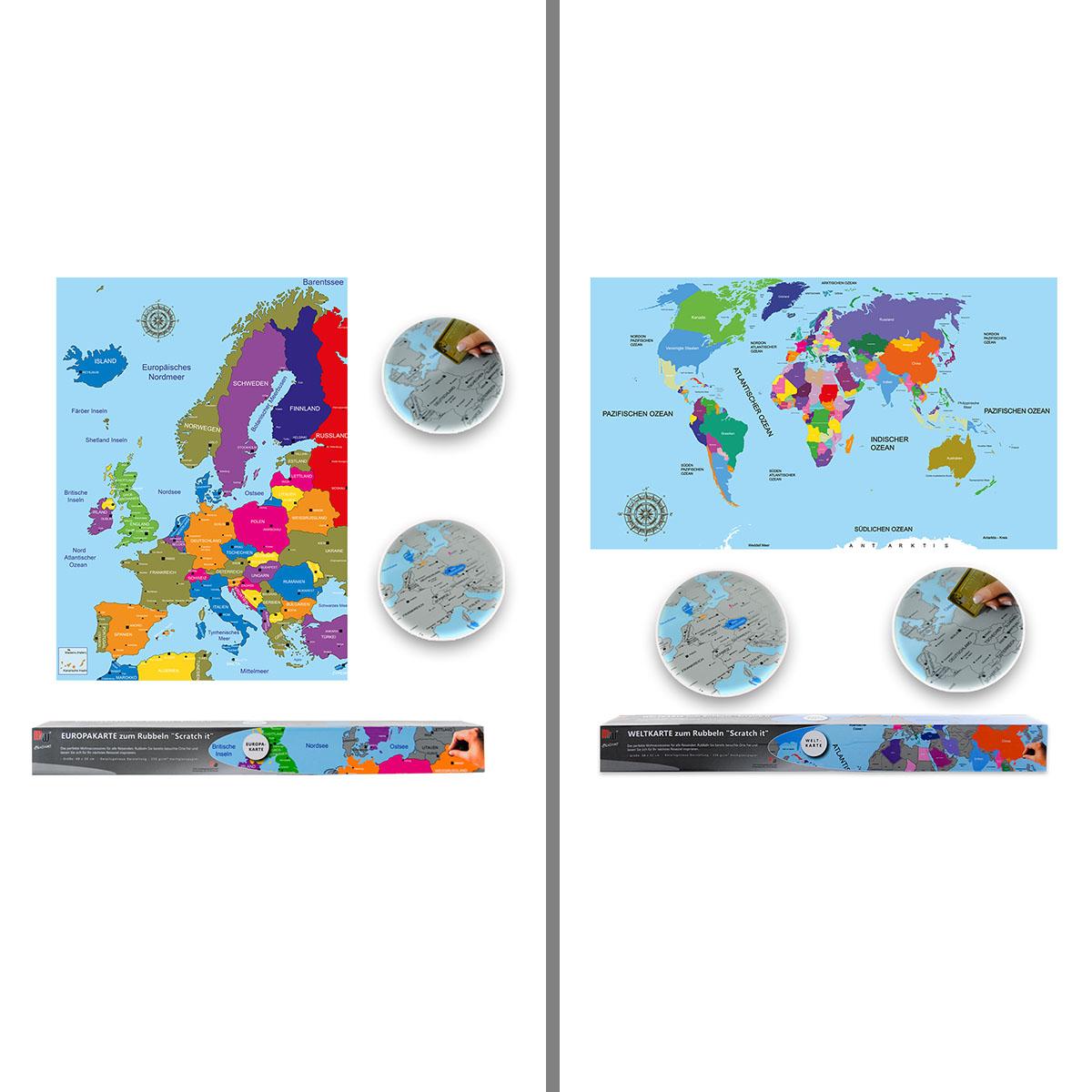Weltkarte oder Europakarte zum Rubbeln Image
