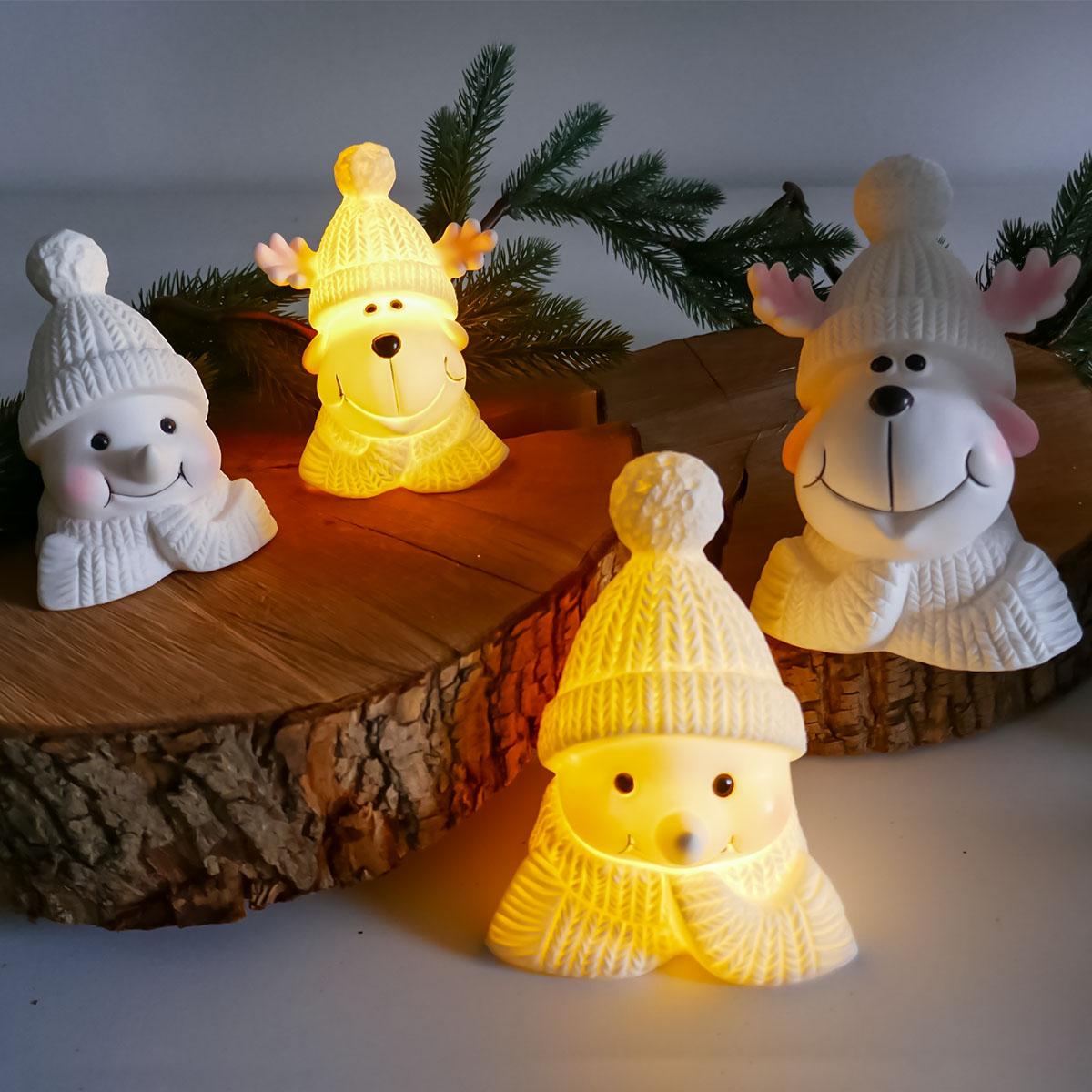 Weihnachtsdeko Elch und Schneemann mit LED Image